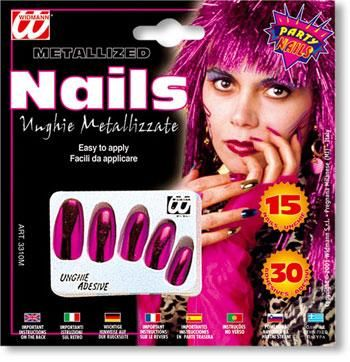 Metallic Fingernägel pink