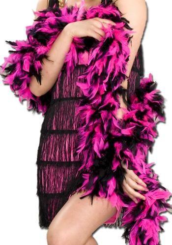 Straußenfederboa pink schwarz