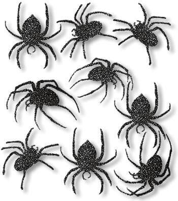 Schwarze Glitter Spinnen Scherenschnitte