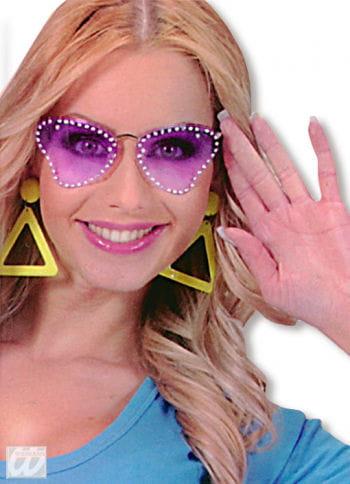 Partybrille Butterfly Violett mit Strass