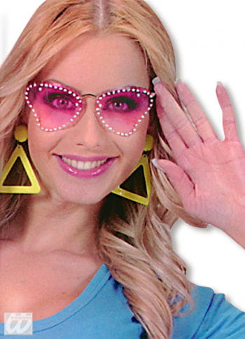 Party Glasses Butterfly Pink with Strass