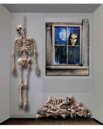 3-tlg. Halloween Wandfolie Skelett
