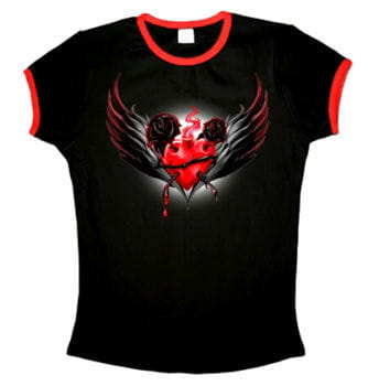 Sacred Heart Shirt with Red Cuffs Size M