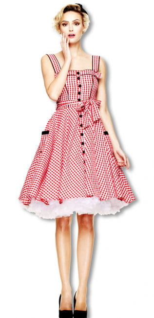 50s summer dress checkered red-and-white