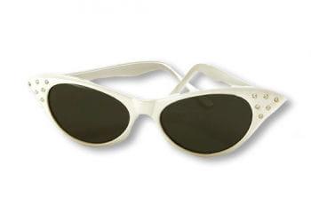 50s Sunglasses White with Rhinestones