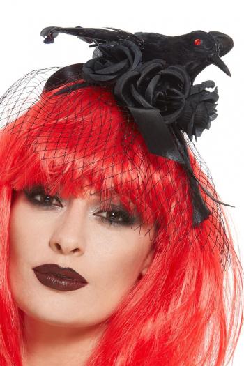 Schwarzes Krähen Haarband mit Schleier und Rosen