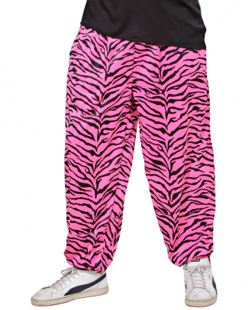 80er Jahre Pink Zebra Trainings Hose