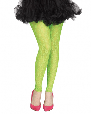 80s Mesh Leggings With Lace Neon Green