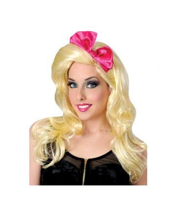 Popstar Perücke mit pinker Schleife