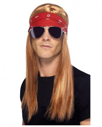 90er Rockstar Perücke Axel mit Stirnband & Brille