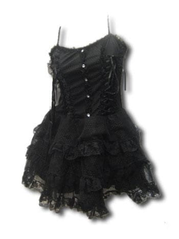 Gothic French Maid Blk Mini Dress Gr. L XL