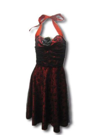 Rose Dress Lace Red / Black Gr. S