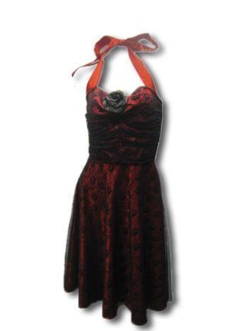 Rosen Kleid mit Spitze Rot Schwarz Gr. M