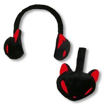 Ohrenwärmer Kitty schwarz rot