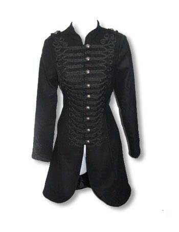 schwarzer Gothic Mantel im Uniform Style S