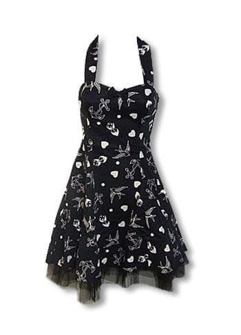 Rockabilly Tattoo Kleid schwarz weiß M