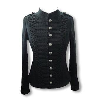 schwarze Gothic Jacke im Uniform Style XS
