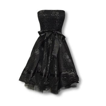 black evening dress with flower print S