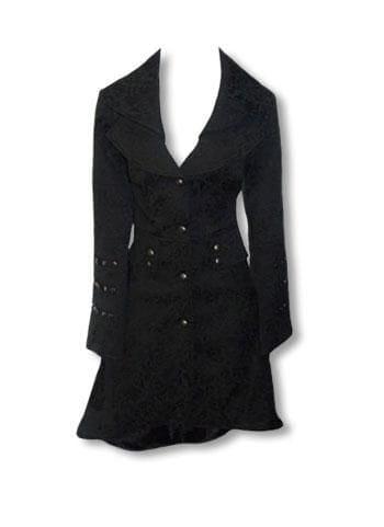 black Gothic Brocade Coat XS