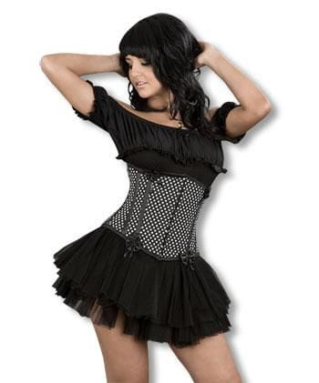 Black White Polka Dot Understretch Corset L