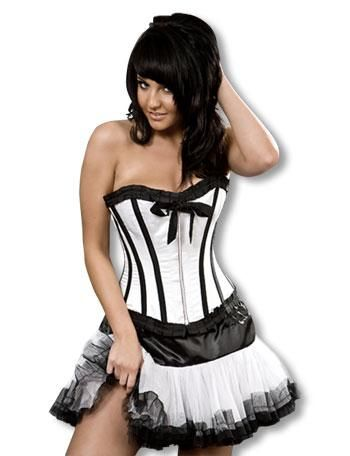 Satin corset black with ruffles S