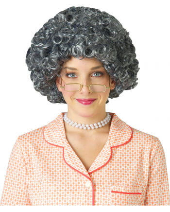 Silberne Oma Afro Perücke