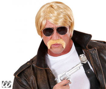 Agenten Perücke mit Bart und Brille blond