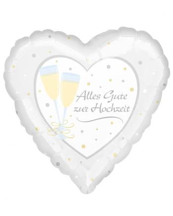 Alles Gute zur Hochzeit Folienballon Herz