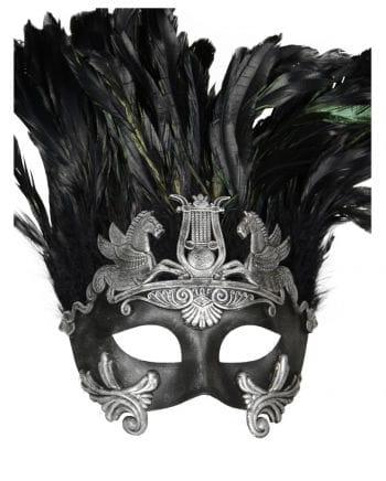 Altertümliche Augenmaske mit Federn grau/schwarz