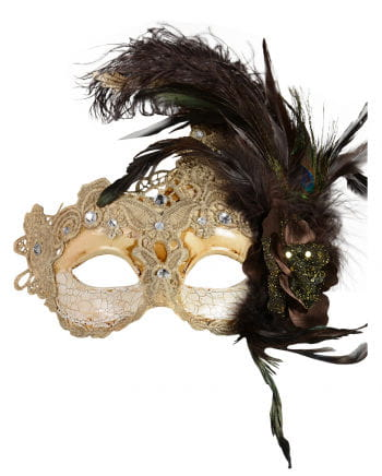 Venetian mask with feathers beige / brown