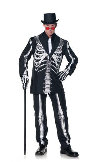 Schwarzer Anzug mit Skelett Aufdruck