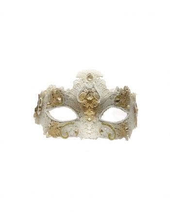 Venetian mask with top Beige / gold