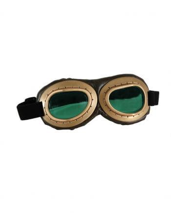 Gold-braune Aviator Brille - Grüne Gläser
