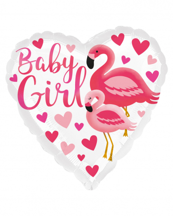 Baby Girl Flamingo Folienballon Pink