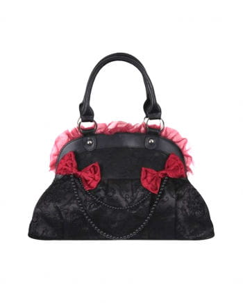 Gothic handbag with lace black / red