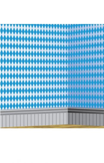 Bavarian diamond pattern wall film white / blue