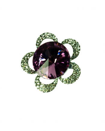 Fingerring Blume mit Strass