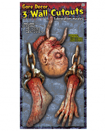 Bloody Body Parts Wall Decoration Set Of 3