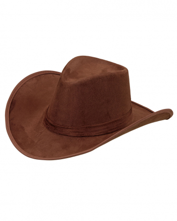 Brown Cowboy Hat - Suede Look