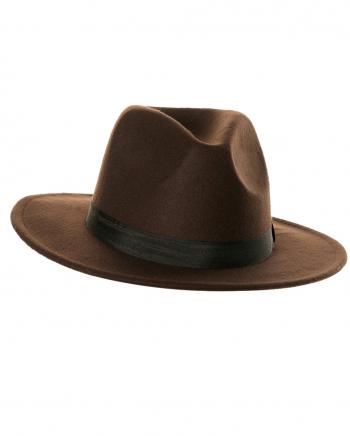 Brown Felt Hat With Hatband