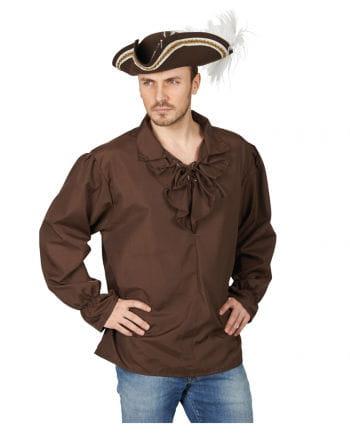 Miitelalter Shirt With Frill Collar Brown