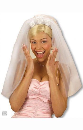 Brautschleier mit weißen Rosen