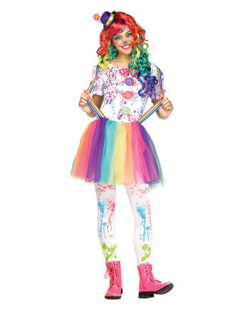 Rainbow Clown Teen Costume