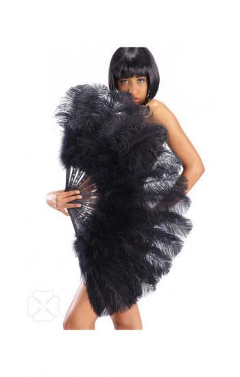 Burlesque Fächer mit schwarzen Federn XXL