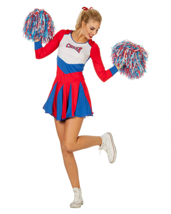 Cheerleader Ladies Costume Red-blue