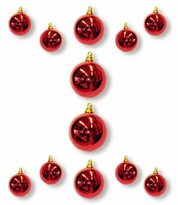 Christmas Ball Ornaments Red 12 PCS
