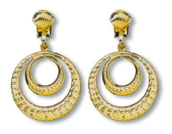 Golden Dangling Clip On Earrings