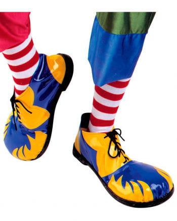 Clown Schuhe blau und gelb mit Flammen
