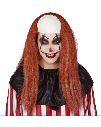 Lange Clownsperücke mit Halbglatze