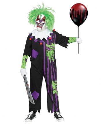 Crazy Zirkusclown Kinderkostüm mit Maske